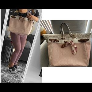 👜 GUCCI Large Monogram Pink Tote Logo Authentic